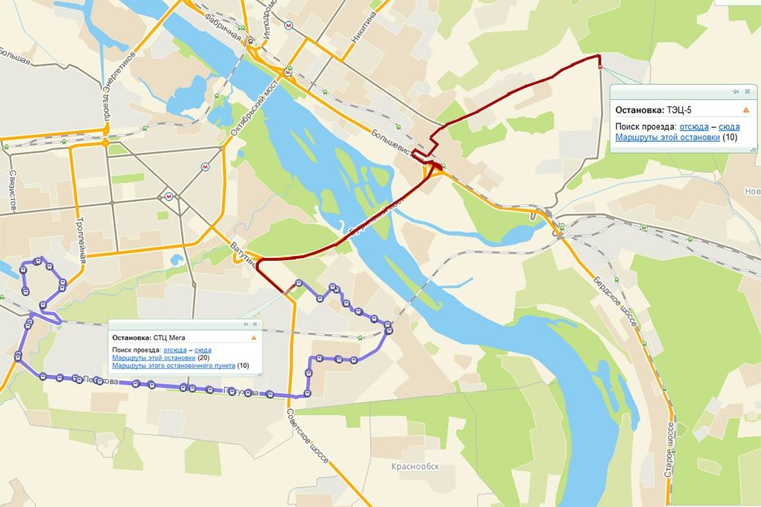 Еще один автобус запускают через Бугринский мост (схема)